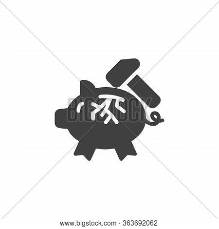 Piggy Bank And Hammer Vector Icon. Filled Flat Sign For Mobile Concept And Web Design. Broken Piggy