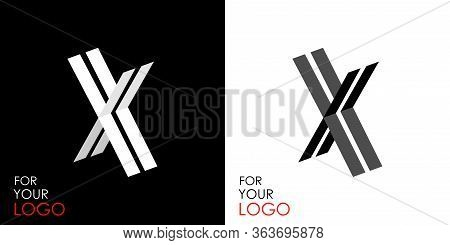 Isometric Letter X. From Stripes, Lines. Template For Creating Logos, Emblems, Monograms. Black And