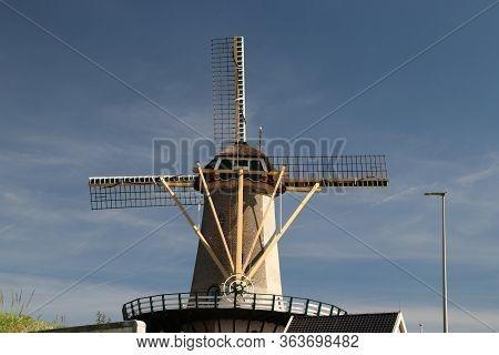 Flour Mill Windlust At The Kortenoord Along The River Hollandsche Ijssel In The Town Of Nieuwerkerk