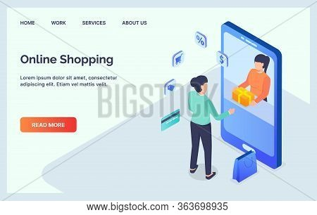 Concept Of Online Shop Woman Stand In Front Giant Smart Phone Perfect For Banner , Web, Fly Er