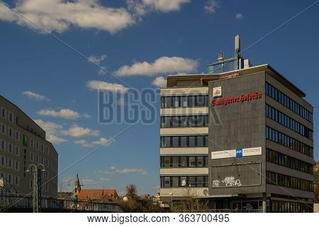 Tuebingen,germany - April 11,2020:friedrichstrasse This Is An Old Business Building.there Are Many O
