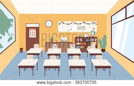 Empty Classroom At Primary School Vector Graphic Illustration. Interior Of Cartoon Elementary Studyi