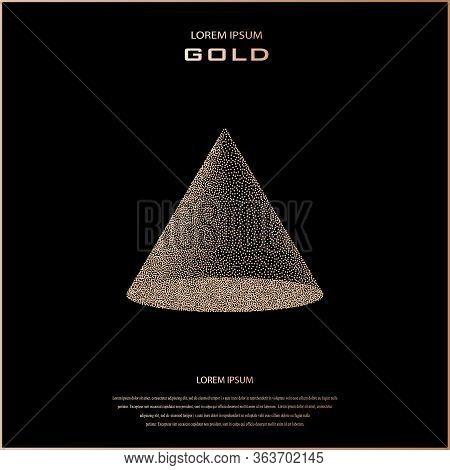Vector Halftone Stippled Geometric Figure Illustration - 3d Quadrangular Pyramid