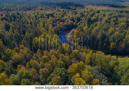 Bend Of The Mezha River In A Dense Autumn Forest. Kostroma Region, Russia