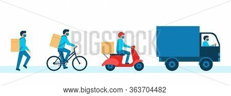 Courier With Box Goods, Delivery Man In Respiratory Mask. Pedestrian, Bicycle, Scooter, Car Courier.