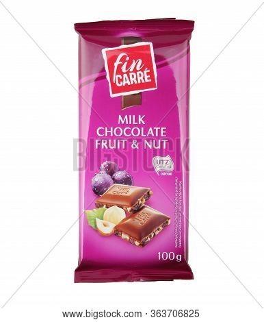 Pomorie, Bulgaria - April 27, 2020: Fin Carre Milk Chocolate Fruit & Nut