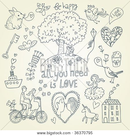 Romantic collection. Cartoon vector set in funny style