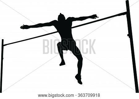 High Jump Man Athlete Jump Black Silhouette
