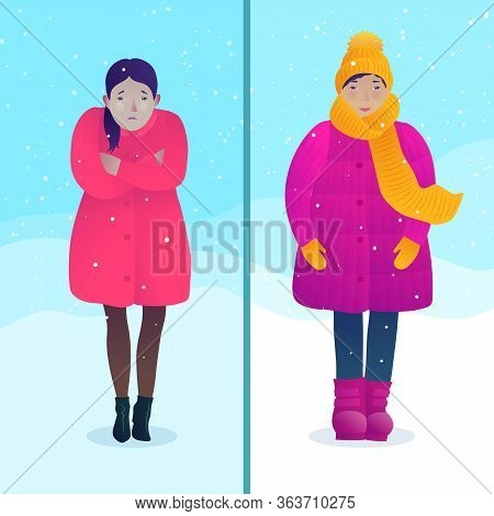Avoiding Hypothermia And Frostbite Concept With Dressed Differently Women. Freezing Young Girl Coldl