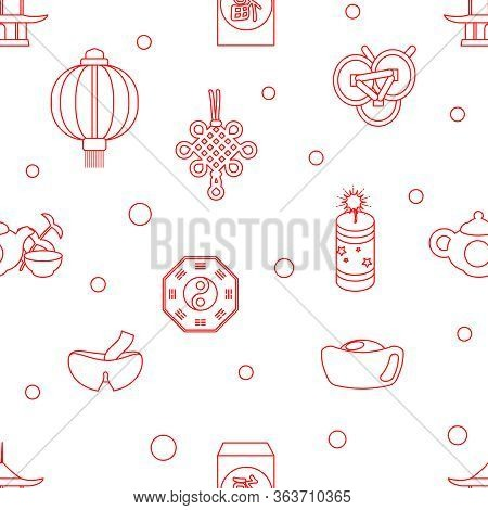 Lineart Seamless Chinese New Year Celebration Party Holiday Pattern Design Vector Illustration