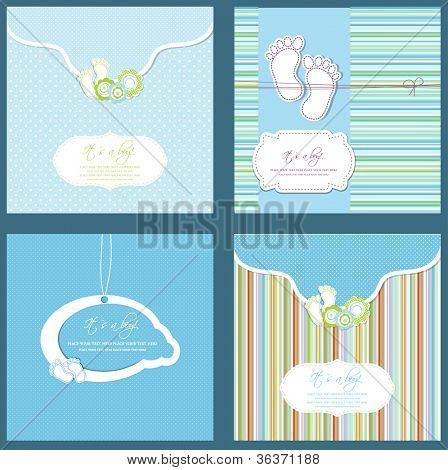Set of four baby boy shower card in blue colors