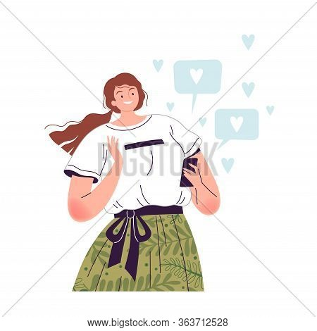Young Cheerful Woman Holds A Phone In Her Hand And Enjoys A Lot Of Likes On Social Networks. Popular