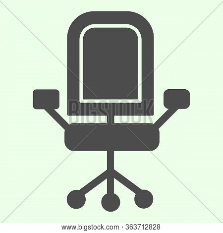 Office Chair Solid Icon. Armchair With Wheels Of Comfortable Business Furniture Glyph Style Pictogra