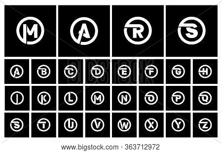 Modern Set Of Templates, Minimalistic Capital Letters Inscribed In A Circle Of Wide White Bands With