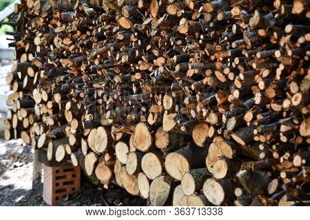 Texture Of Woodpile With Ends Of Cut Firewood Logs Of Different Sizes And Shapes. Traditional Rural