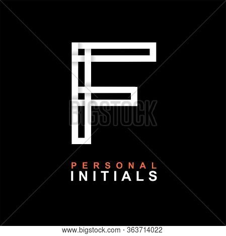 Capital Letter F. Created From Interwoven White Stripes With Shadows On A Black Background. Template
