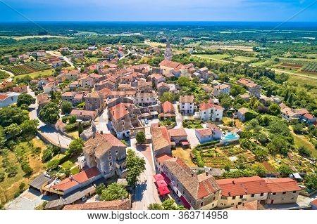 Istria. Town Of Visnjan On Green Istrian Hill Aerial View, Istria Region Of Croatia