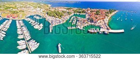 Novigrad Istarski Historic Adriatic Coastal Town Coast And Marina Aerial Panoramic View, Istra Regio