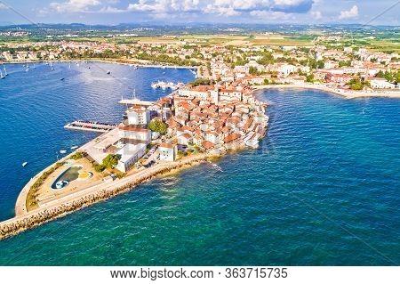 Town Of Umag Historic Coastline Aerial View, Archipelago Of Istria Region, Croatia