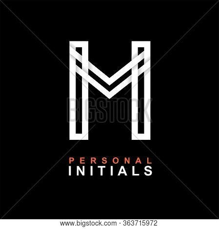 Capital Letter M. Created From Interwoven White Stripes With Shadows On A Black Background. Template
