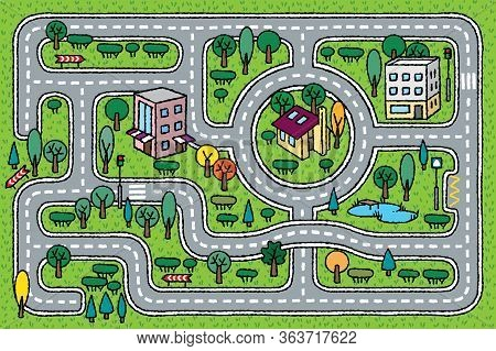 City Pattern. Roads, Houses And Grass Areas Background