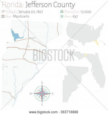 Large And Detailed Map Of Jefferson County In Florida, Usa.