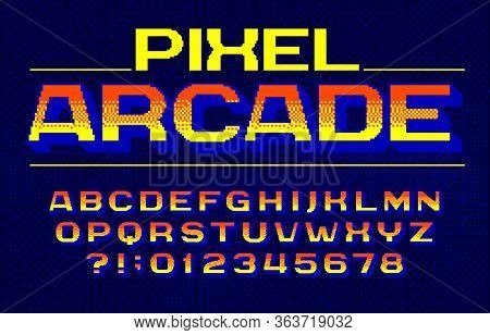 Pixel Arcade Alphabet Font. Digital Gradient Letters And Numbers. Pixel Background. 80s Arcade Video