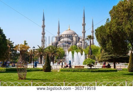 View of the main square in the sunny spring morning, Sultan Ahmed Mosque (Blue Mosque),  Istanbul, Turkey.