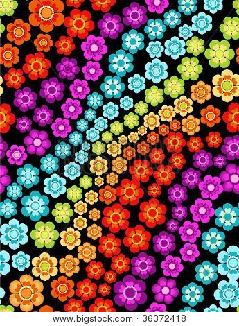 rainbow flowers seamless background