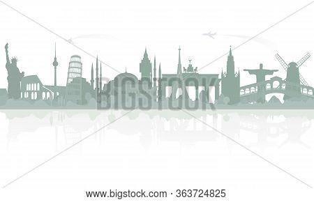 Skyline Overlooking World Famous Architectural Landmarks. Sample Travel Banner, Travel Advertisement