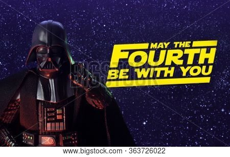 APRIL 26 2020: Star Wars Day concept - May the Fourth Be With You with Darth Vader  - Hasbro action figure