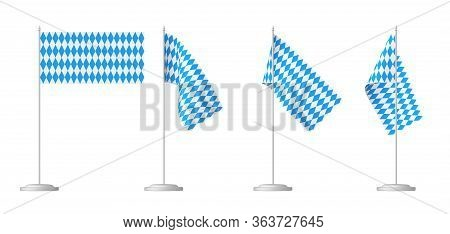 Oktoberfest Small Table Flags On Stand Set Isolated On White, Bavarian Checkered Blue Flag With Blue