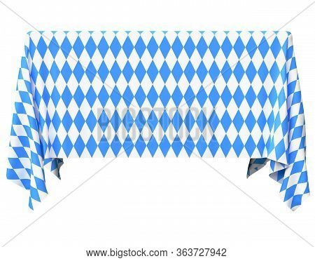 Square Oktoberfest Tablecloth With Blue-white Checkered Pattern Isolated On White, Front View, Tradi