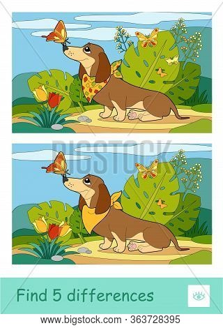Find Five Differences Quiz Learning Children Game With Image Of A Dog Playing With Butterflies On A