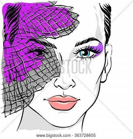 Portrait Of A Beautiful Woman With A Veil. Veil On The Face. Beautiful Girl With A Veil. Vector Illu