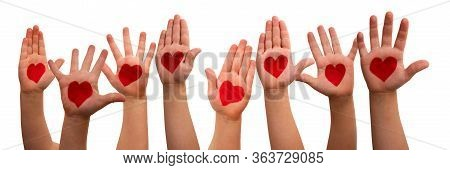 Kids Hands With Heart Symbol, Isolated Background