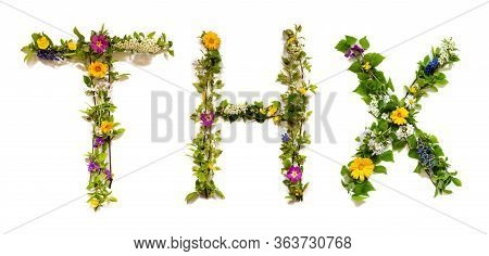 Flower And Blossom Letter Building Word Thx Means Thank You