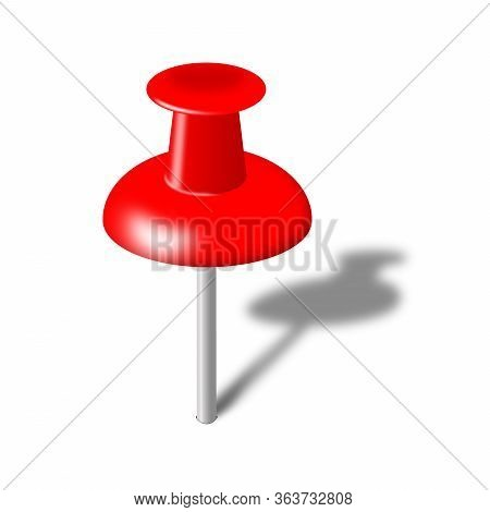 Red Pushpin Illustration Isolated On White With Shadow