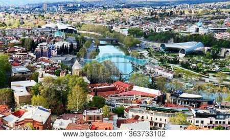 Tbilisi, Georgia  April 19, 2020:  Beautiful Aerial View Of The Old Part Of City   In Tbilisi, Georg