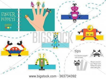 Finger Puppet Vector Robots. Cut And Glue Educational Worksheet For Preschool Or School Kids