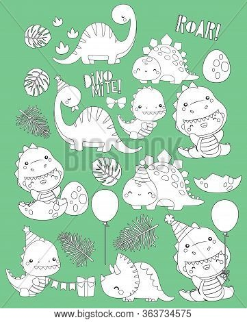 A Vector Of Dinosaur Themed Birthday In Black And White Colours