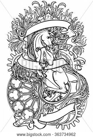 Intricate Drawing Of Hte Legendary Unicorn On A Decorative Flames And Plants Ornament With A Motivat