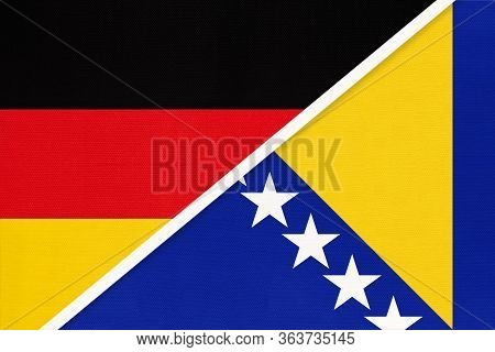 Federal Republic Of Germany Vs Bosnia And Herzegovina Or Bih, Symbol Of Two National Flags From Text