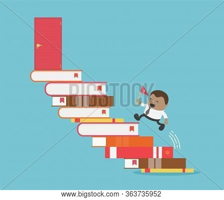 African Businessman Succeed By Reading Books Business Education Concept With Businessman And Books