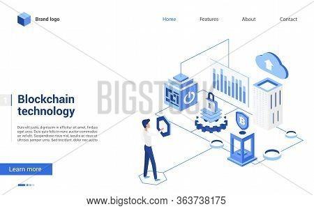 Isometric Blockchain Crypto Technology Vector Illustration. 3d Cartoon Tiny People Work With Blockch