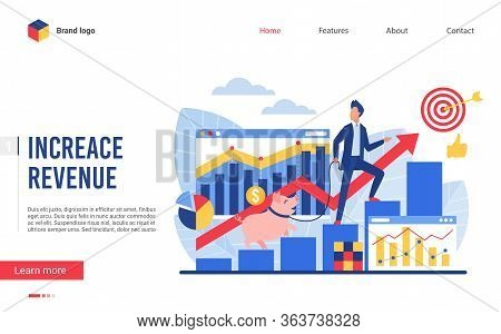 Increase Revenue Vector Illustration. Interface Website Design, Investment Banking Concept With Cart