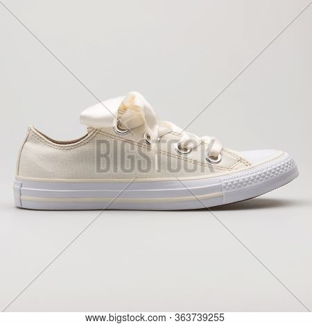 Vienna, Austria - February 19, 2018: Converse Chuck Taylor All Star Big Eyelets Ox Beige And White S