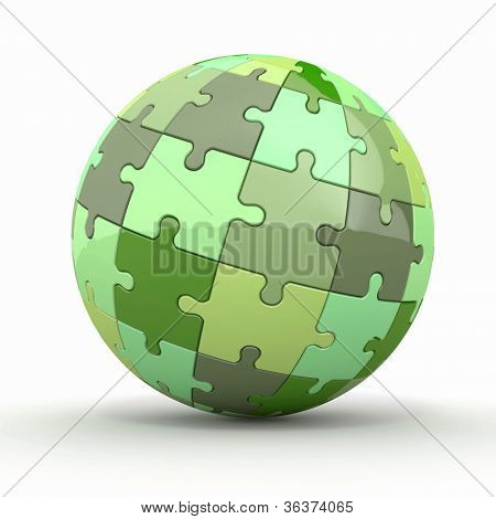 Globe or sphere from puzzles on white background. 3d