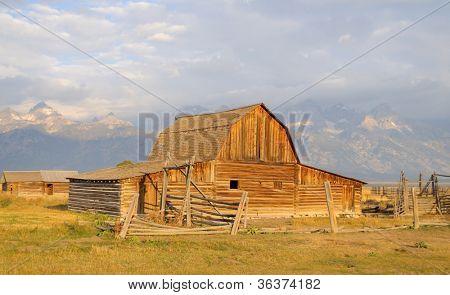 John Moulton Barn and Grand Teton range at sunrise