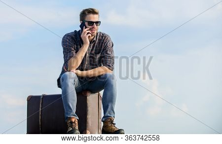 Commit To Travel. Businessman In Glasses. Business Trip. Macho Man Tourist Relax Tour Bag. Male Fash